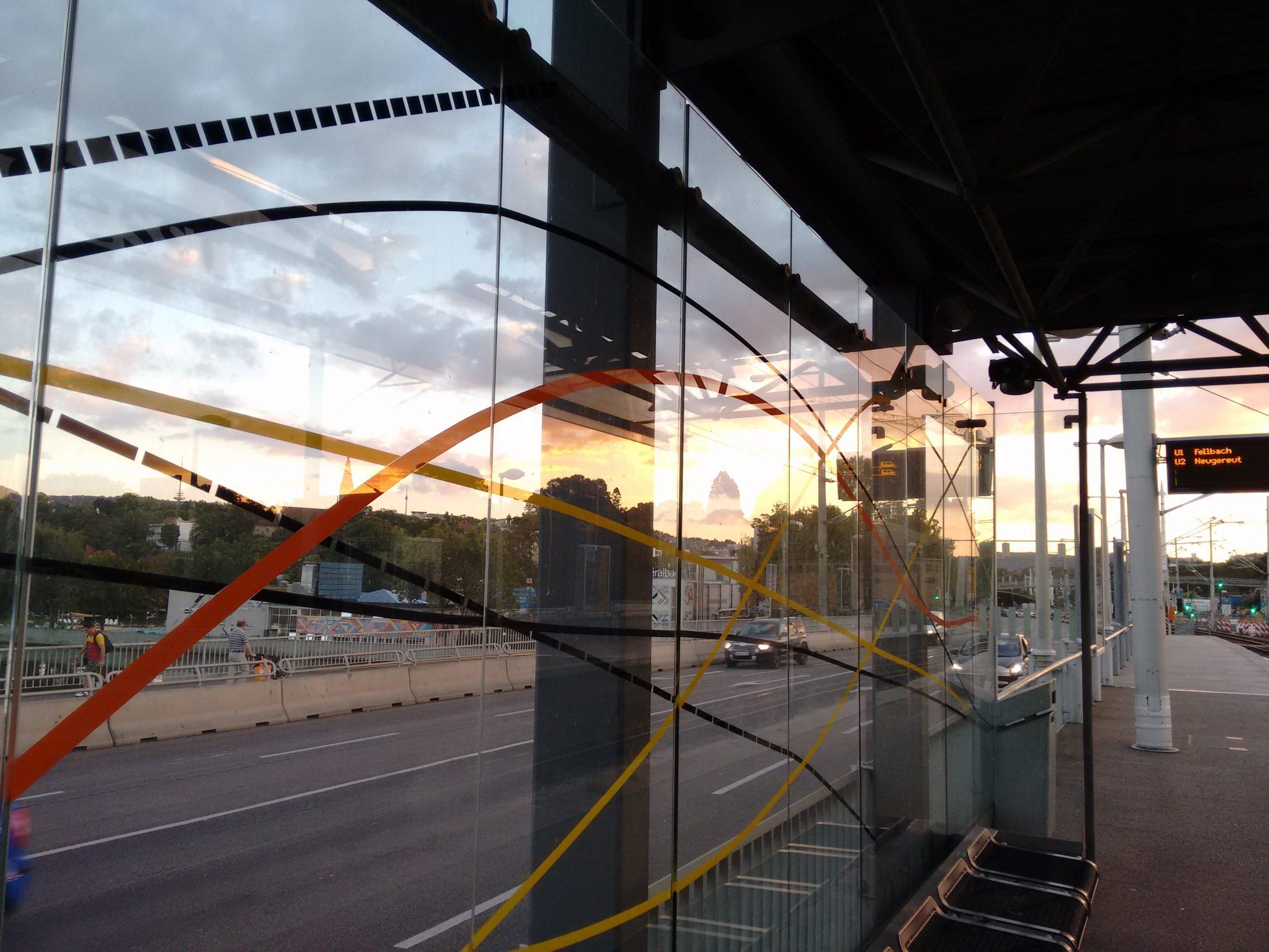 Reflection, stopping point, subway, Stuttgart
